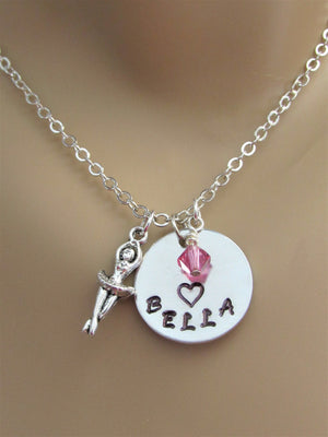 Ballerina Personalized Stamped Necklace with Swarovski Birthstone Bead & Silver Ballerina Charm
