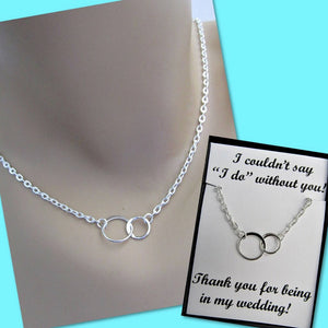 "I Couldn't Say ""I Do"" Without You, Two Eternity Circles, Sterling Silver Infinity Necklace"