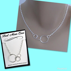 Best Mom Ever, Three Connected Eternity Circles, Sterling Silver Infinity Necklace