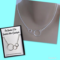 Three Generations Of Love, Three Connected Eternity Circles, Sterling Silver Infinity Necklace