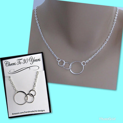 Cheers To 30 Years Necklace, 3 Eternity Circles, Sterling Silver Infinity, 30th Birthday Anniversary