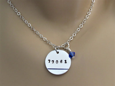 Police Wife, Mom, Daughter Stamped Necklace w/ Badge Number, Thin Blue Line & Blue Swarovski Bead