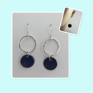Cobalt Blue Enamel Sterling Silver Hammered Circle Earrings