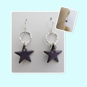 Beautiful Iris Purple Star Enamel Sterling Silver Hammered Circle Earrings