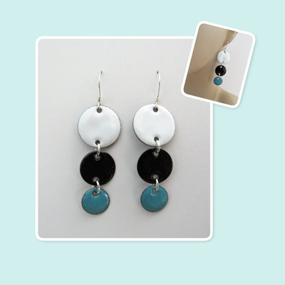 White, Black and Teal Circle Geometric Enamel Sterling Silver Long Earrings