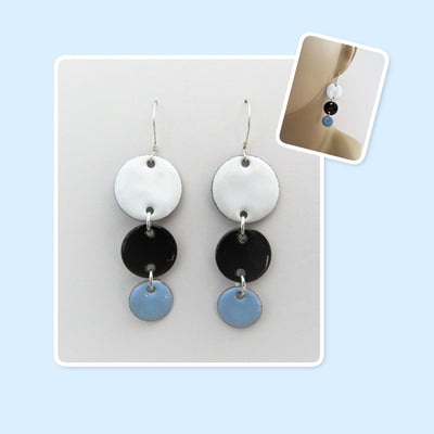 White, Black and Sky Blue Circle Geometric Enamel Sterling Silver Long Earrings