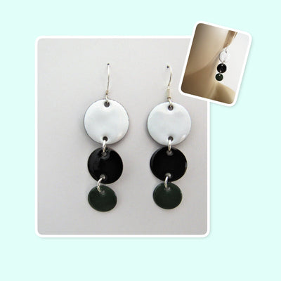 White, Black and Forest Green Circle Geometric Enamel Sterling Silver Long Earrings