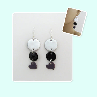 White, Black and Purple Circle and Heart Geometric Enamel Sterling Silver Long Earrings