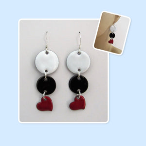 White, Black and Red Circle and Heart Geometric Enamel Sterling Silver Long Earrings