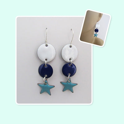 White, Blue and Teal Circle and Star Geometric Enamel Sterling Silver Long Earrings