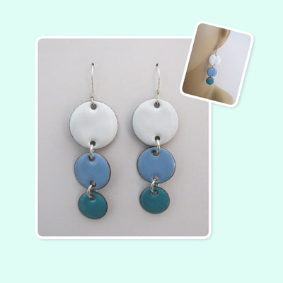 White, Sky Blue and Teal Circle Geometric Enamel Sterling Silver Long Earrings