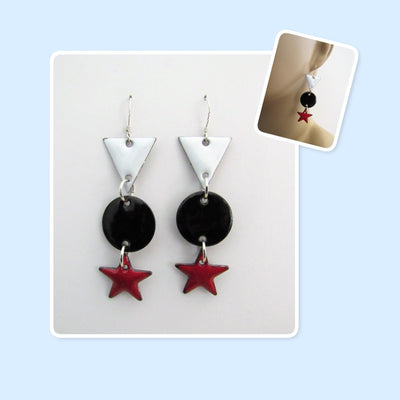 White, Black & Red Triangle, Circle & Star Enamel Sterling Silver Long Geometric Earrings