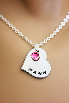 Mama Stamped Heart Necklace w/ Swarovski Crystal Birthstone, Laser Engraved