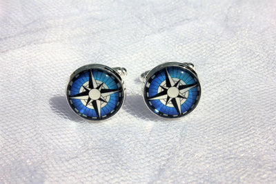 Compass Cufflinks, Groomsmen, Nautical Wedding Jewelry, Gift For Him, Formalwear