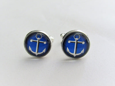 Nautical Blue Anchor Cufflinks, Groomsmen, Nautical Wedding Jewelry, Formalwear, Glass Domed