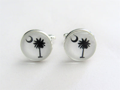 South Carolina Palmetto Moon Cufflinks, Groomsmen, Nautical Wedding Jewelry