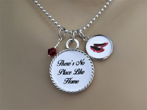There's No Place Like Home Wizard Of Oz  Necklace w/ Red Ruby Shoe Charm & Birthstone, Glass