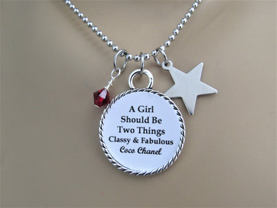 A Girl Should Be Two Things Classy & Fabulous Chanel Quote Necklace Star Charm, Glass