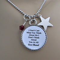 I Don't Care What You Think About Me Chanel Quote Necklace w/ Star Charm & Swarovski Birthstone