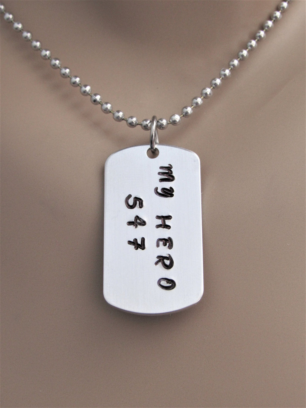 My Hero Police or Fire Fighter Son or Daughter Stamped Necklace With Badge Number