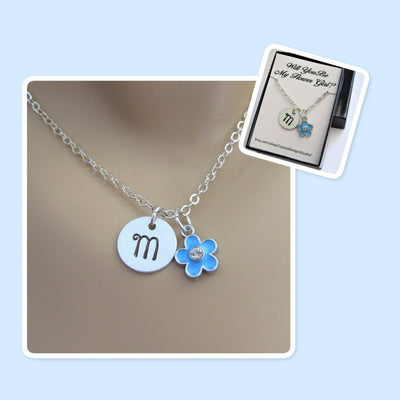 Will You Be My Flower Girl Stamped Initial Disk Necklace w/ Blue Flower Charm, Wedding
