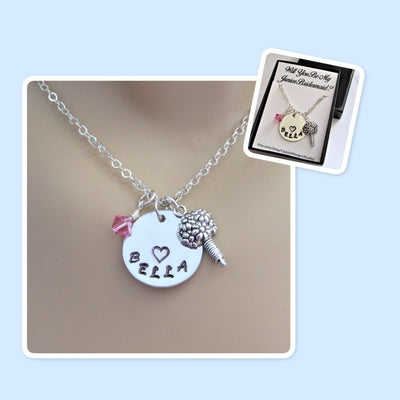 Will You Be My Junior Bridesmaid Personalized Necklace w/ Birthstone & Flower Charm, Wedding
