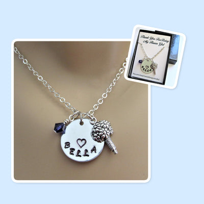 Flower Girl Personalized Stamped Necklace w/ Swarovski Birthstone Bead & Flower Charm, Wedding