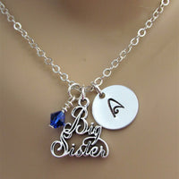 Promoted to Big Sister Initial Stamped Necklace w/ Swarovski Birthstone Bead & Big Sister Charm
