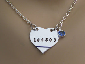 Police Wife, Mom, Daughter Stamped Heart Necklace w/ Badge Number, Blue Swarovski and Thin Blue Line
