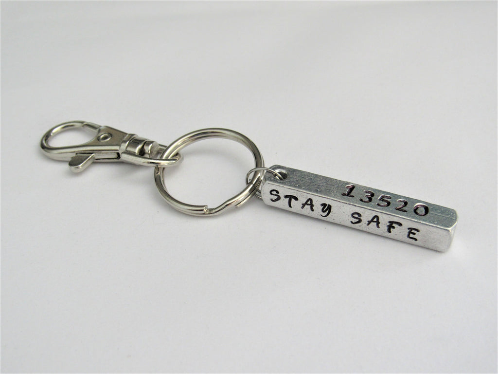 Personalized Badge Number Stay Safe Our Hero Bar Key Chain, Police Officer or Fire Fighter