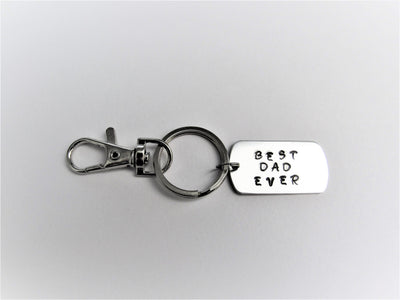 Best Dad Ever Hand Stamped Keychain, Gift for Dad, Father's Day
