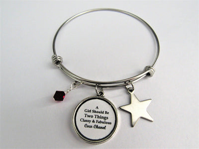 A Girl Should Be Two Things Classy & Fabulous Chanel Quote Charm Bracelet, Glass