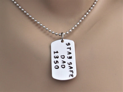 Stay Safe Police Officer or Fire Fighter Stamped Dog Tag Necklace With Badge Number