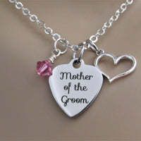 Mother of the Groom Necklace w/ Heart Charm and Swarovski Birthstone, Laser Engraved, Wedding