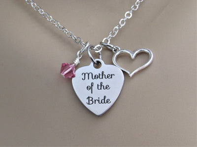 Mother of the Bride Necklace w/ Heart Charm and Swarovski Birthstone, Laser Engraved, Wedding