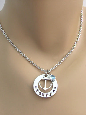 Auntie Hand Stamped Necklace w/ Swarovski Birthstone Bead and Silver Anchor Charm