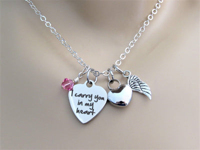 I Carry You In My Heart Necklace w/ Heart Urn, Angel Wing & Swarovski Birthstone, Cremation