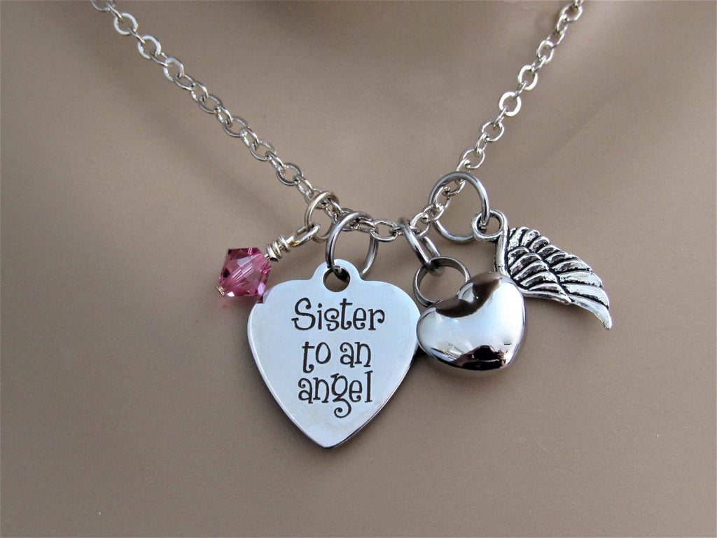 Sister To An Angel Heart Necklace With Heart Urn, Angel Wing & Birthstone, Cremation