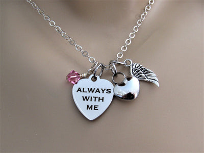 Always With Me Heart Necklace With Heart Urn, Angel Wing & Swarovski Bead, Cremation