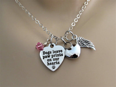 Dogs Leave Paw Prints Heart Necklace With Heart Urn, Angel Wing & Birthstone, Cremation