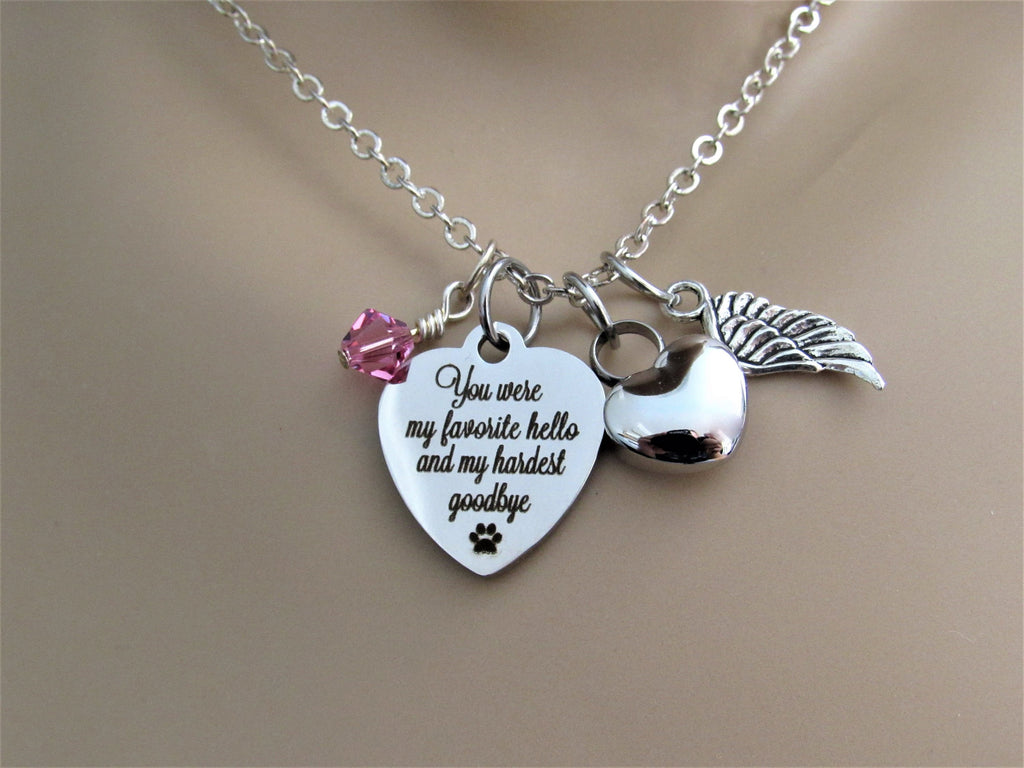 Favorite Hello, Hardest Goodbye Necklace w/ Heart Urn, Angel Wing & Swarovski Birthstone, Cremation