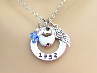 In Memory Of Cremation Necklace w/ Badge Number, Heart Urn, Angel Wing & Swarovski Bead