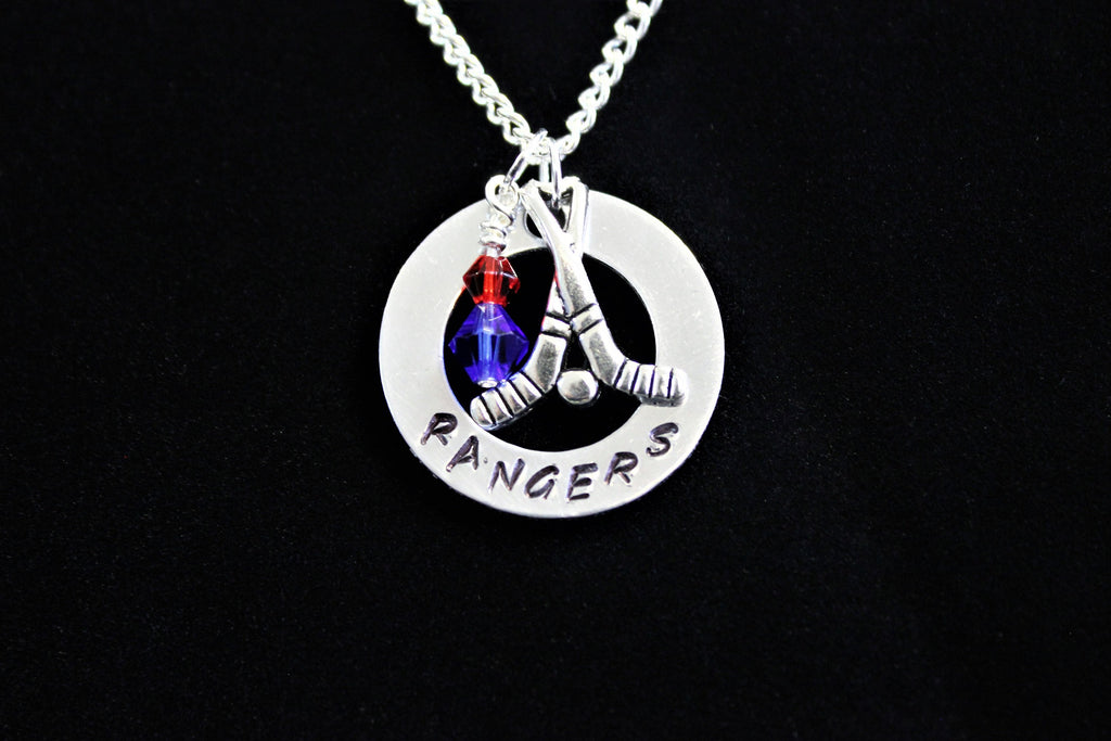 Rangers Stamped Necklace w/ Swarovski Crystal Beads & Hockey Charm, Support Child's Team
