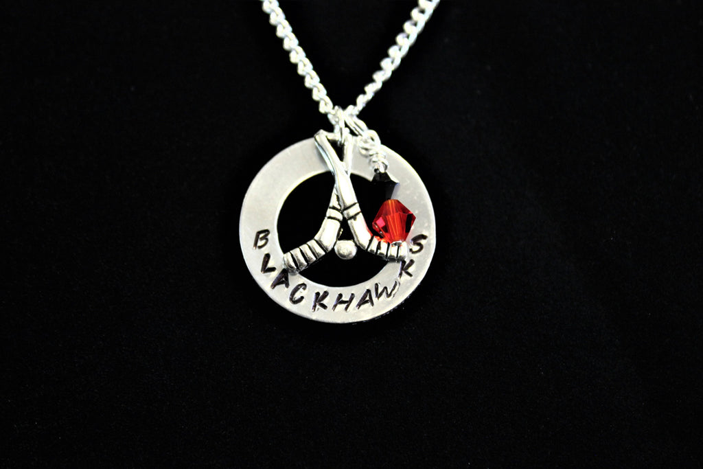 Blackhawks Stamped Necklace w/ Swarovski Beads and Silver Hockey Charm, Support Child's Team