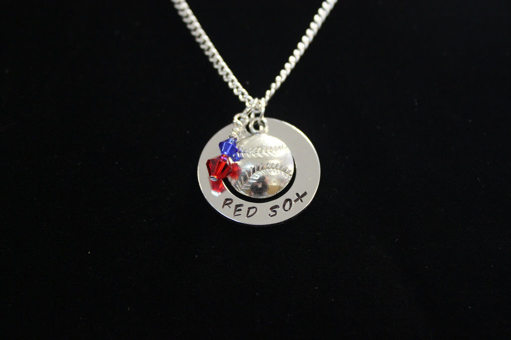 Red Sox Stamped Necklace w/ Swarovski Crystal Beads & Baseball Charm, Support Child's Team