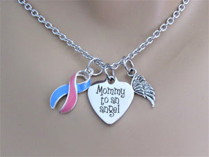 Mommy To An Angel Necklace w/ Angel Wing Charm & Pink and Blue Ribbon, Laser Engraved