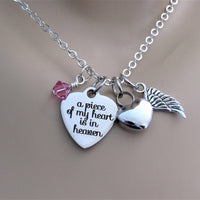 A Piece Of My Heart Is In Heaven Heart Necklace W/ Heart Cremation Urn, Angel Wing & Swarovski