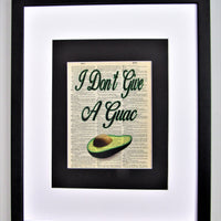 I Don't Give A Guac Avocado Dictionary Print, Wall Décor, Funny Gift