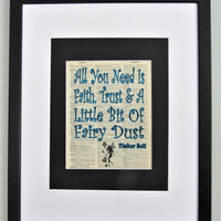 All You Need Is Faith, Trust & Little Bit Of Fairy Dust Tinker Bell Dictionary Print