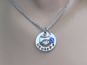 Dodgers Stamped Necklace w/ Swarovski Beads and Silver Baseball Charm, Support Child's Team